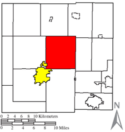 Location of Liberty Township (red) in Crawford County, next to the city of Bucyrus (yellow)
