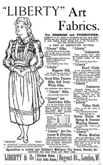 Smock-frock - Liberty art fabrics advertisement showing a smocked dress, May 1888