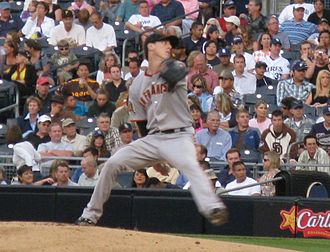 Tim Lincecum - Lincecum pitching on August 1, 2008, in San Diego