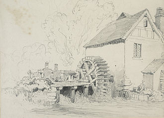 Mavesyn Ridware - Drawing, believed to be of Mavesyn Ridware mill, 1873 or 1874, by Henry Harris Lines