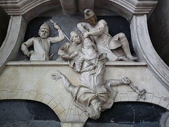 Francesco Robba - St. John of Nepomuk by Francesco Robba, statue on the facade of St. Florian's Church in Ljubljana