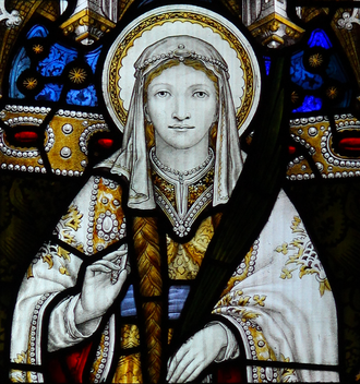 Tydfil - Stained glass window of St Tydfil in Llandaff Cathedral