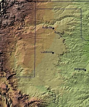 Shaded relief image of the Llano Estacado. The escarpments marking the eastern edge of the Llano are visible, running roughly in a north–south line through the middle of the Panhandle. The western edge is on the New Mexico side of the border, with the Texas–New Mexico border running considerably closer to the western edge of the Llano than to the eastern.
