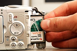 Loading a CF card into the Canon Powershot A95
