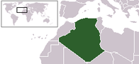 A map showing the location of Algeria
