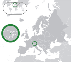 Location of  Liechtenstein  (green) on the European continent  (dark grey)  —  [Legend]