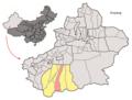 Location of Chira within Xinjiang (China).png