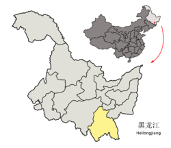 Location of Mudanjiang City (yellow) in Heilongjiang (light grey) and China
