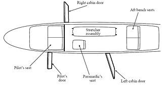2005 Loganair Islander accident - Diagram of Loganair Britten-Norman Islander air ambulance cabin.