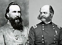 James Longstreet (Confédération)et Ambrose Burnside (Union),principaux commandants pendantla campagne de Knoxville.