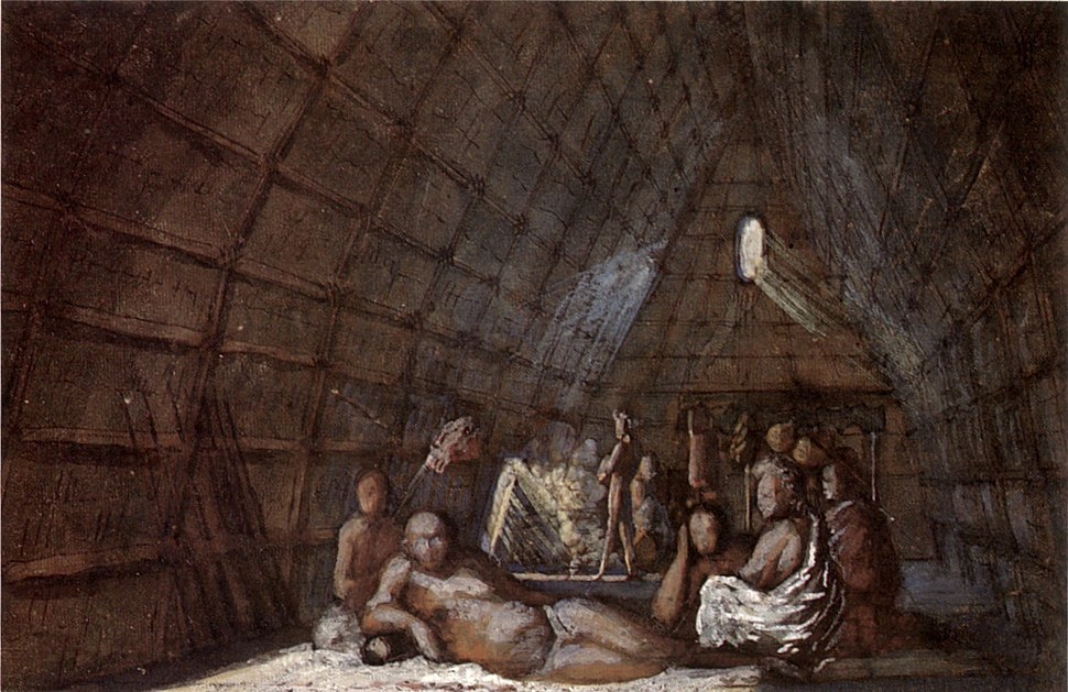 Louis Choris - 'Interior of a House of a Chief of the Sandwich Islands'
