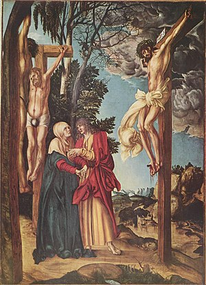 Lutherans believe that whoever has faith in Jesus alone will receive salvation from the grace of God and will enter eternity in heaven instead of eternity in hell after death or at the second coming of Jesus. Lucas Cranach d. A. - The Lamentation of Christ - The Schleissheim Crucifixion - Alte Pinakothek.jpg