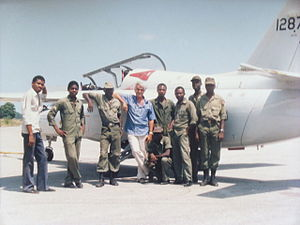 Armed Forces of Haiti - Lynn Garrison with Haitian Corps d'Aviation Marchetti and crew, September 1990
