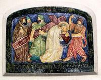 Simon de Cyrène aide Jésus à porter la croix (source: Wikipedia)