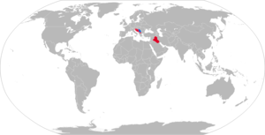 M-87 Orkan - Map with M-87 operators in blue and former operators in red