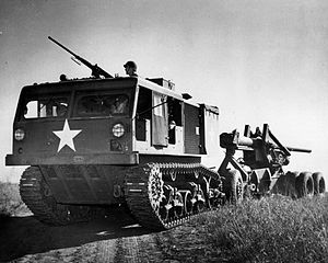 M4 Tractor - 155mm Long Tom in tow behind an M4 High Speed Tractor.