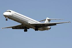 MD-83 Sahand Airlines UR-CJE THR April 2011.jpg