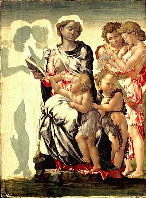 Michelangelo - The Virgin and Child with Saint...