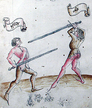 German school of fencing - pflug and ochs, as shown on fol. 1r of Cod. 44 A 8 (1452)