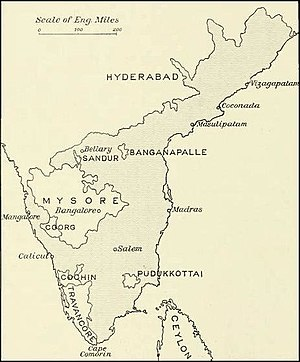 Malabar rebellion - Map of Madras Presidency, after the Wars with Tippu Sultan of Mysore