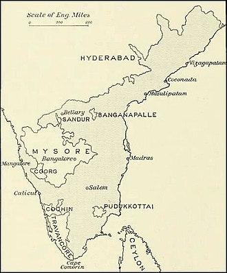 Pudukkottai State - 1913 map of the Madras Presidency showing location of Pudukkottai State