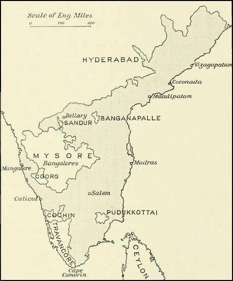 Location of Madras Presidency