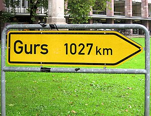 Gurs internment camp -  This memorial in the form of a German road sign is in Freiburg im Breisgau and commemorates the Nazi regime deportees