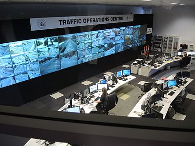 A view of the Main Roads Western Australia Traffic Operations Centre, in Northbridge, Perth