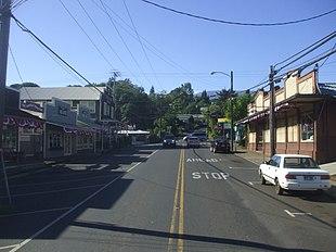 Looking up on Baldwin Avenue towards the Baldwin Ave/Makawao Ave/Olinda Road intersection