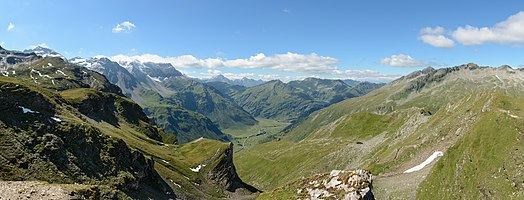 Panoramic view from the Hagener Hütte towards Naßfeld Valley, High Tauern National Park, federal state of Salzburg, Austria