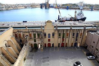 Valletta Waterfront - The car park behind the rebuilt facades