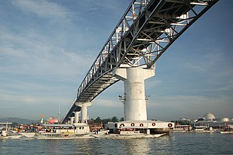 Mactan–Mandaue Bridge - Under the structure of the Mactan–Mandaue Bridge.
