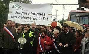 RER D - Protesters at Yerres on October 17th, 2009