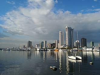 Skyline of Manila as seen from Harbour Square. Manila Skyline March 2020.jpg