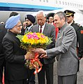 Manmohan Singh being welcomed by the Chief Minister of Jammu and Kashmir, Shri Omar Abdullah, at Jammu Airport, in Jammu and Kashmir on March 04, 2011. The Governor of Jammu and Kashmir, Shri N. N. Vohra is also seen.jpg