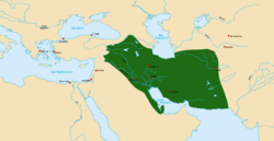 Map centered on the Middle East, the shaded green area represents the extent of the Parthian Empire
