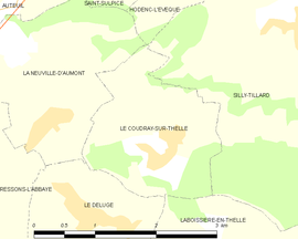 Mapa obce Le Coudray-sur-Thelle