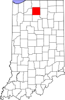 Map of Indiana highlighting Marshall County
