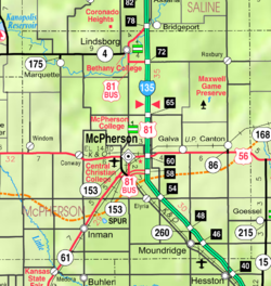 KDOT map of McPherson County (legend)