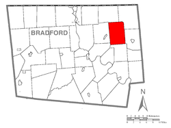 Map of Bradford County with Orwell Township highlighted