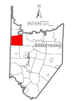 Map of Armstrong County, Pennsylvania highlighting Sugarcreek Township