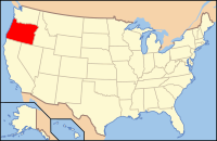 Map of the USA highlighting Oregon