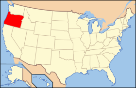 Map of the U.S. with Орегон highlighted