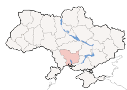 Location o Mykolaiv Oblast (red) athin Ukraine (blue)