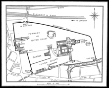 Map of Reading Abbey before its destruction.