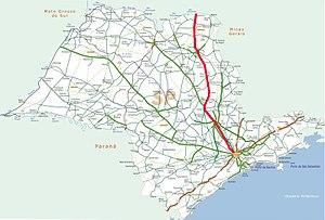 Rodovia Anhangüera - Image: Mapa rodovia anhanguera