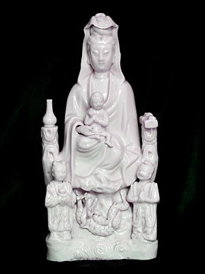 Dehua porcelain - Dehua kiln statue of Buddhist Kannon used for Christian veneration in Japan