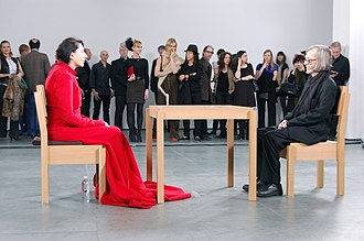 Endurance art - Marina Abramović's The Artist is Present, 2010, Museum of Modern Art, New York. Abramović sat opposite museum visitors for eight hours a day, without speaking, for a total of 750 hours.