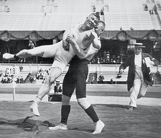 Martin Klein and Alfred Asikainen, whose wrestling bout lasted for 11 hours and 40 minutes Martin Klein and Alfred Asikainen.jpg