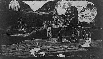 "Hina (goddess) - ""Mararu"": Offerings of gratitude to Tahitian goddess Hina. Woodcut by Paul Gauguin (1894)."